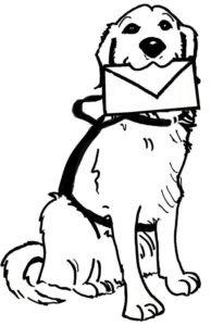 afbeelding: hond met enveloppe